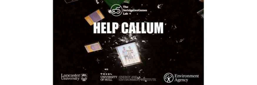 Promotion flyer for Help Callum. Dark background and picture of 3 person family.