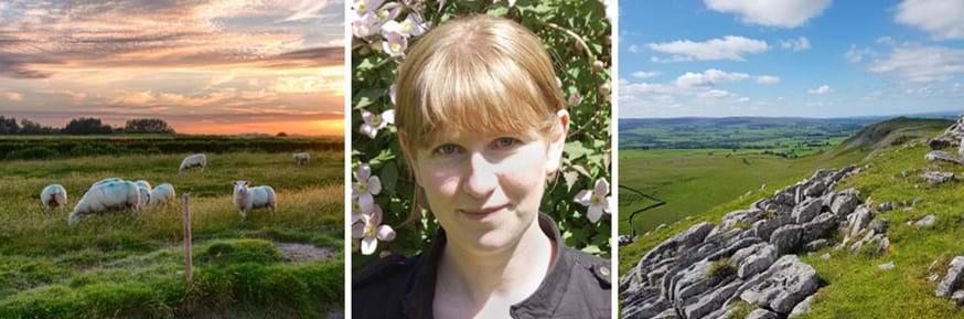 Composite of Professor Carly Stevens (centre) between images of the agricultural landscapes she works in