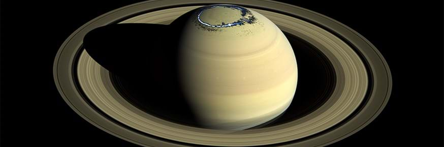 Composite of a true colour image of Saturn, observed by Cassini in 2016, overlaid with a false colour representation of the ultraviolet aurora in the northern hemisphere as observed on 20 August 2017.