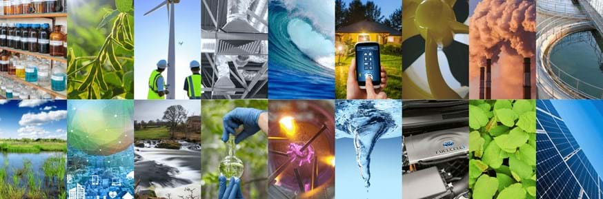 A montage of environmental innovation images