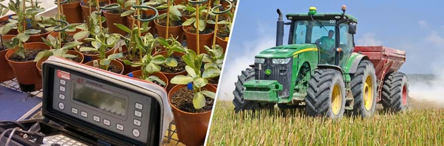 Composite image: on the left scientific equipment taking measurements from plants growing in a lab, on the right a tractor working in a crop field