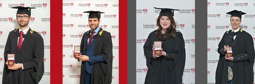 Chancellor's Medallists, L-R: Sam Rawsthorne, Michail Karpathiou, Lydnsey Parker, Alan Wise