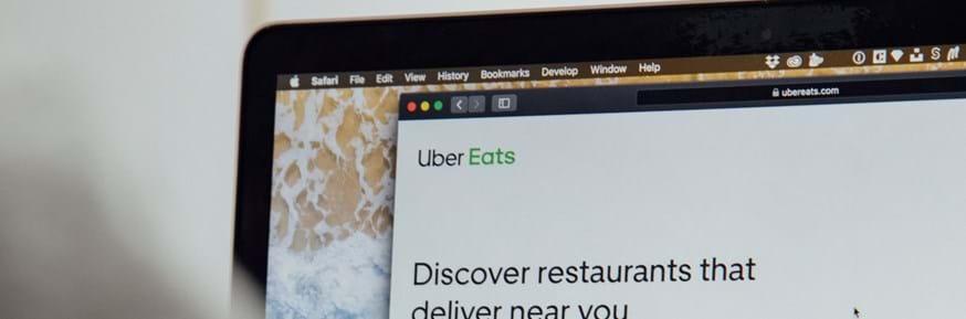 Laptop screen open at Uber eats webpage