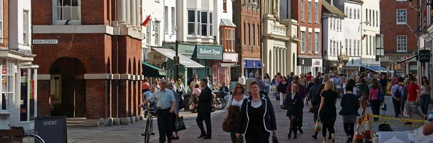 Pedestrians on a high street