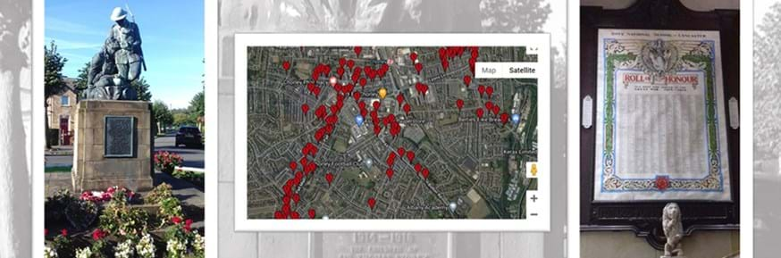 A montage of pictures showing: Centre: The 'Mapping Loss: Communities in War and Peace', map (Google Earth), an initiative by Lancaster University, which will be officially launched on November 11 2020. On the left is a monument to the fallen, situated in the Westfield War Memorial Village, Lancaster and on the right a Roll of Honour, housed at Ripley St Thomas Church of England Academy, Lancaster