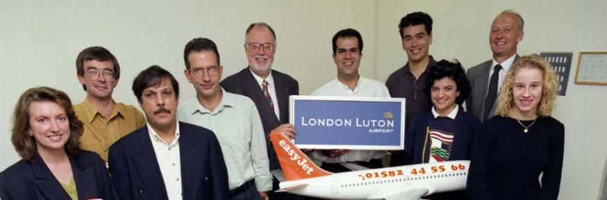 Tony (back row, second from right) at launch of easyJet in 1995
