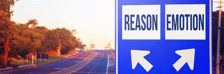 A sign showing two different routes, labelled reason and emotion