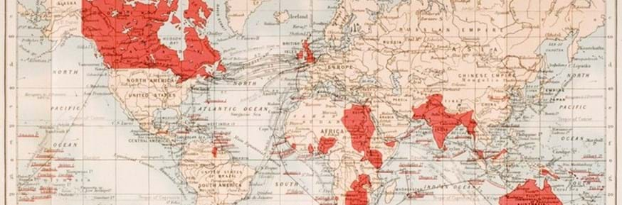 map of the world showing the extent of the British Empire in 1901
