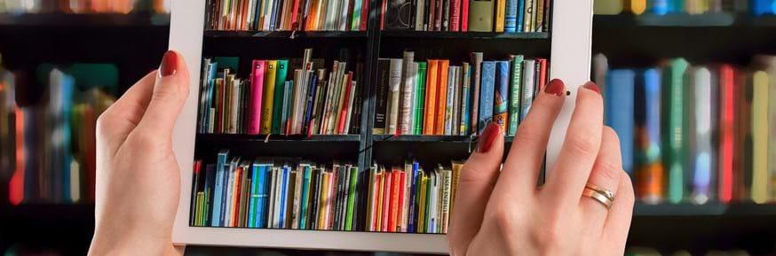Ipad showing image of books on shelves