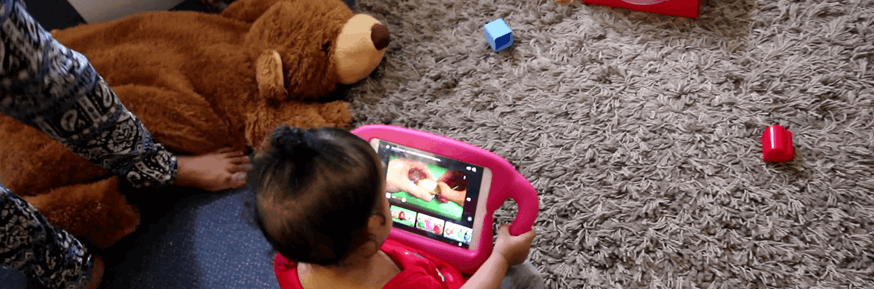 Child at play using baby computer