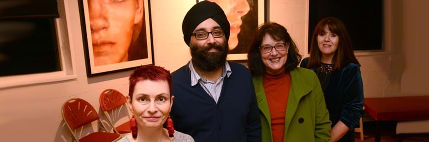 Pictured at the Lancaster Playwriting Prize prize announcement evening are (from left to right): Co-winner Alison Chaplin for her play 'Dancing Backwards', Dr Tajinder Hayer from Lancaster University, Amanda Webster who was shortlisted for 'For One Night Only' and Suzanne Jeans who was shortlisted for 'An Absence Of'. Co-winner Harvey Cox (Burial Detail) was unable to attend the presentation.