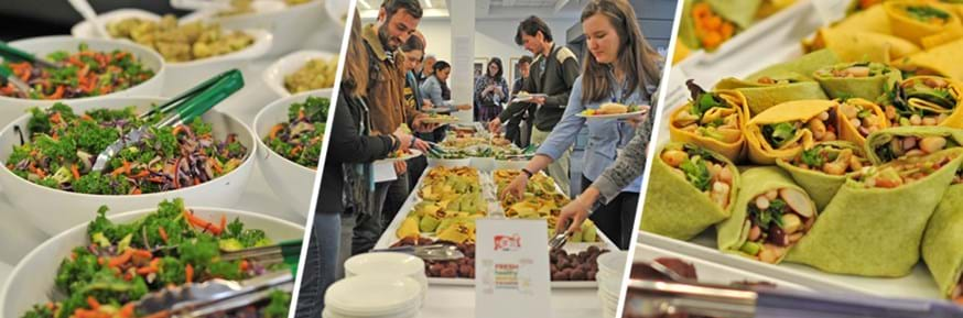 Composite image of the sustainable lunch at Lancaster Environment Centre's Winter Conference. Fresh green salads (left), bean mixed filled wraps (right) and staff and students dig in to the buffet (centre).