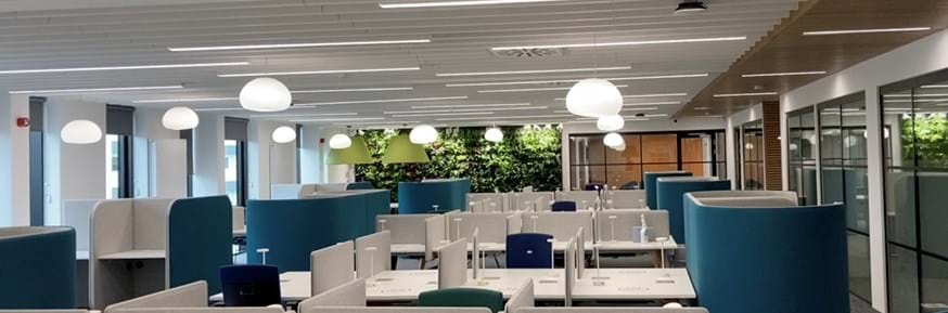 A view of individual study spaces on B floor of the library extension, with the living wall in the background.