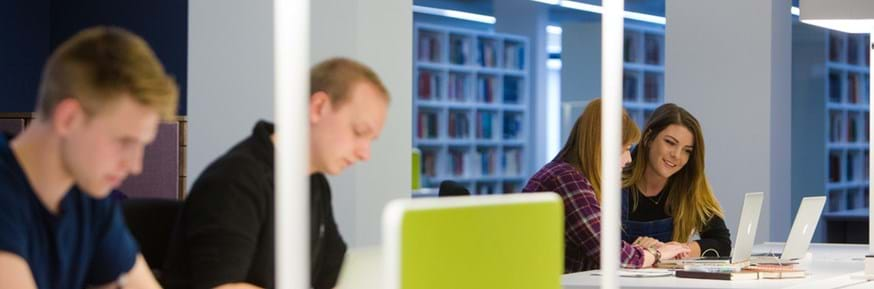 Students studying in Lancaster University Library