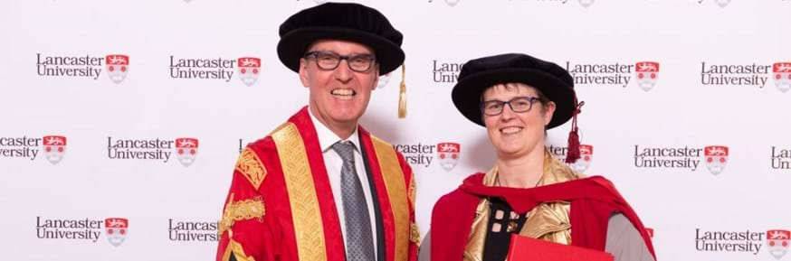 Professor Lucy Rogers with Lancaster University Chancellor the Rt Hon Alan Milburn