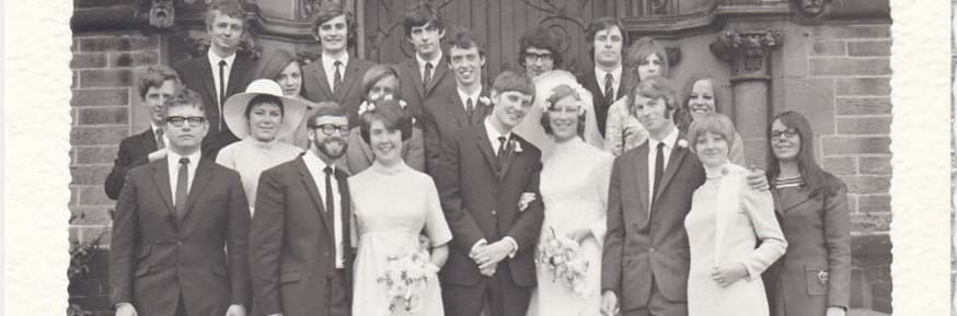 Michael O'Connor and Diane Hurst wedding in 1969 surrounded by Lancaster alumni