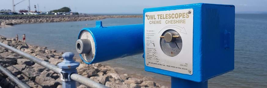 A blue telescope in Morecambe overlooking the bay which provided the inspiration for the project