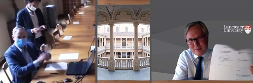 The MoU was signed by Lancaster's Pro-Vice-Chancellor (Global), Professor Simon Guy (right), and the Pro-Rector for International Relations of Padua University, Professor Alessandro Paccagnella. The centre photograph shows Padua University's elegant Central Building.