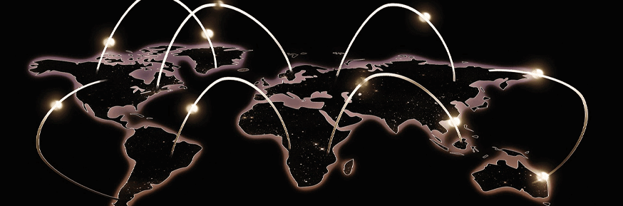 black and white world map with connecting light strands