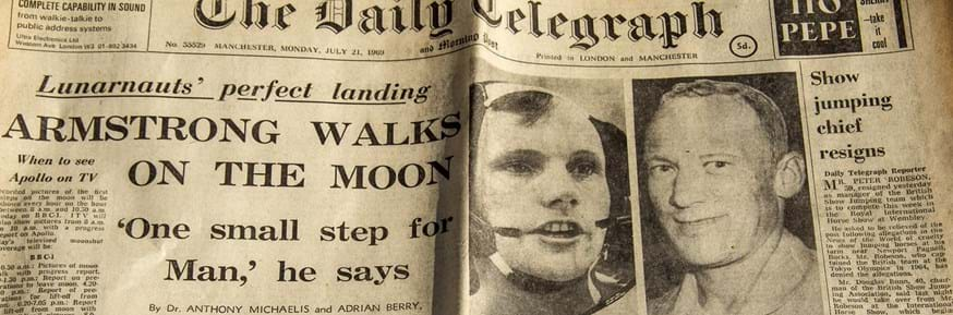 Daily Telegraph front page July 21 1969 showing the first moon landing.