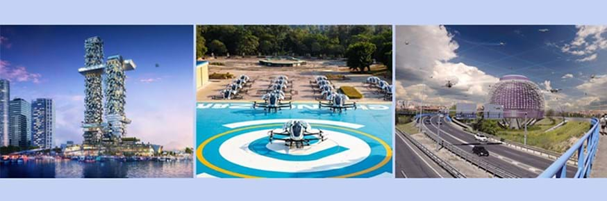 A vision of our Drone Futures (from left to right): Apartment of the future complete with personal aerial vehicle landing pads (image courtesy of  Humphreys and Partners), Drones ready for take-off from a dronepad (image courtesy of Ehang) and an urban droneport (image courtesy of Saul Ajuria Fernandez).