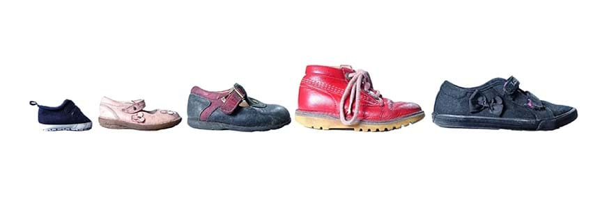 Children's shoes increasing in size