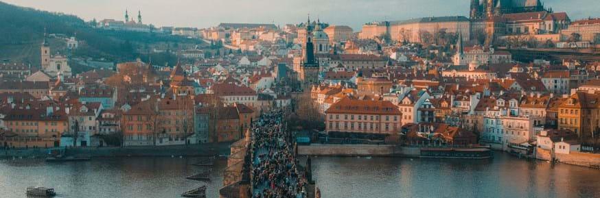 Prague city with a bridge