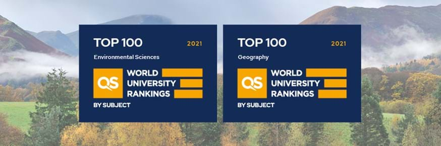 Logos for the 2021 QS University World Rankings by subject for Environmental Sciences (left) and Geography (right) in front of an autumnal mountainous landscape