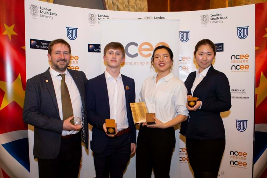 The Lancaster University team of (from second left): Dan Ashton, Aura Zhao and Yang Du, with Simon Harrison, Enterprise Programme Manager for Lancaster University, after winning the Bronze Award at the annual International Youth Innovation and Enterprise Skills Challenge.