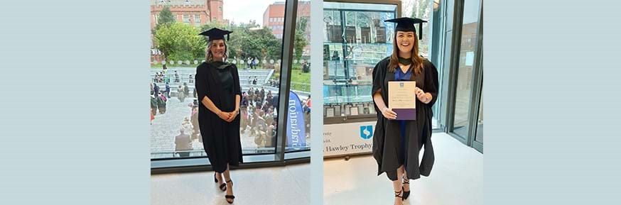 Photo of Gemma Hopper and Beth Littlewood on graduation day